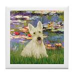 Lilies / Scottie (w) Tile Coaster