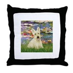 Lilies / Scottie (w) Throw Pillow