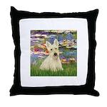 Lilies / Scottie (w) Throw Pillow