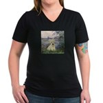Seine / Scottie (w) Women's V-Neck Dark T-Shirt