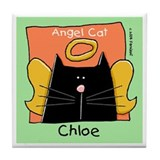 CHLOE Black Cat Angel Tile Coaster