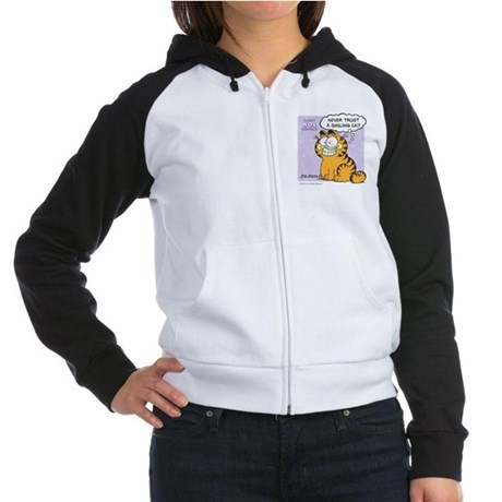 Never Trust a Smiling Cat Women's Raglan Hoodie