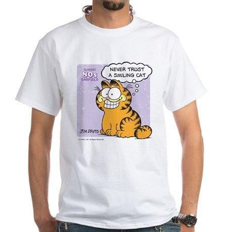 Never Trust a Smiling Cat White T-Shirt