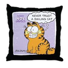 Never Trust a Smiling Cat Throw Pillow
