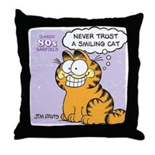 Never Trust a Smiling Cat Throw Pillow