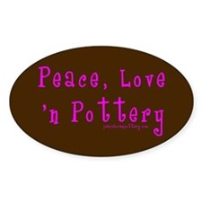 Girl Love Peace n Pottery Oval Decal