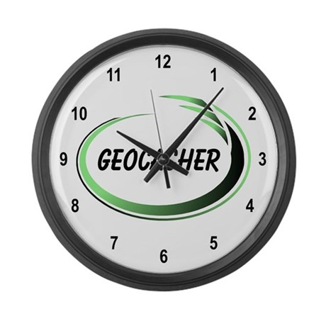 Green Geocacher Pizzaz Large Wall Clock