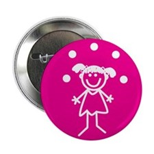 "Juggle Girl (pink) 2.25"" Button (10 pack)"