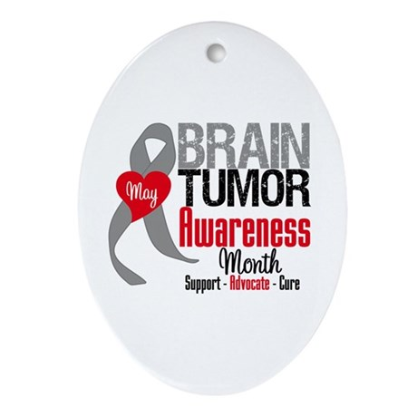 Brain Tumor Month Oval Ornament