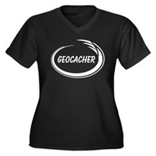 Black Geocacher Pizzaz Women's Plus Size V-Neck Da