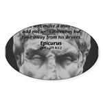 Epicurus Self Control Oval Sticker