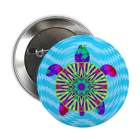 "Colorful Sea Turtle 2.25"" Button"
