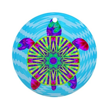 Colorful Sea Turtle Ornament (Round)