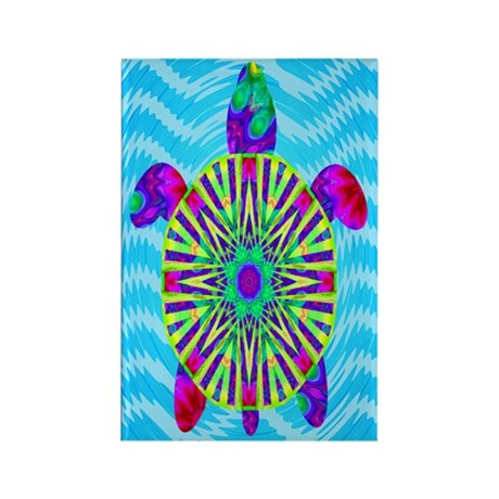 Colorful Sea Turtle Rectangle Magnet (10 pack)