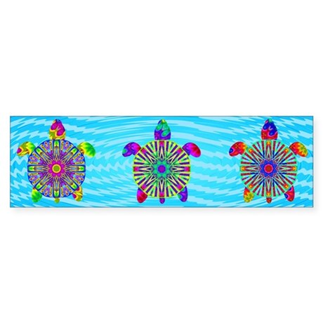 Colorful Sea Turtle Sticker (Bumper)