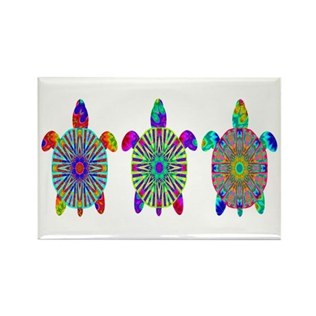 Colorful Sea Turtle Rectangle Magnet