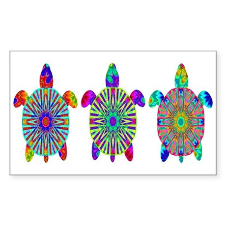 Colorful Sea Turtle Sticker (Rectangle)