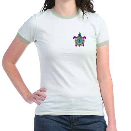 Colorful Sea Turtle Jr. Ringer T-Shirt
