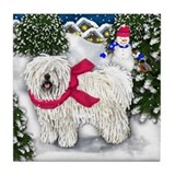 PULI DOG WINTER VILLAGE Tile Coaster