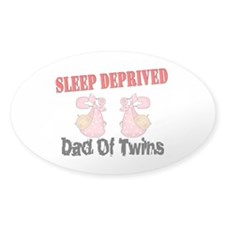 Sleep Deprived Dad Twins Oval Decal