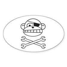 Pirate Monkey Oval Decal