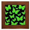 Bioluminescent Butterflies Framed Tile