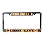 I Brake For Shih Tzus License Plate Frame