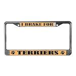 I Brake For Terriers License Plate Frame