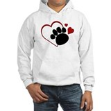 Dog Paw Print with Love Heart Jumper Hoody
