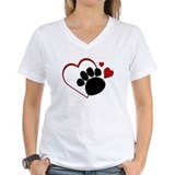 Dog Paw Print with Love Heart Shirt