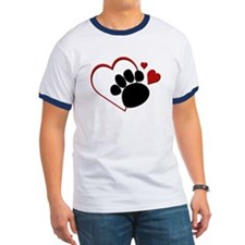 Dog Paw Print with Love Heart T