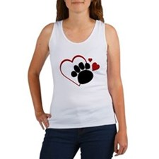 Dog Paw Print with Love Heart Women's Tank Top