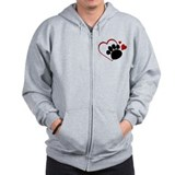 Dog Paw Print with Love Heart Zip Hoody