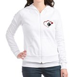 Cat Paw Print and Love Hearts Fitted Hoodie