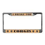 I Brake for Corgis License Plate Frame