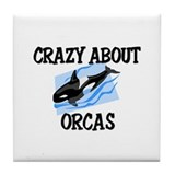 Crazy About Orcas Tile Coaster