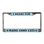 I Brake For Maine Coon Cats License Frame