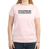 Rather be Wakeboarding Women's Pink T-Shirt
