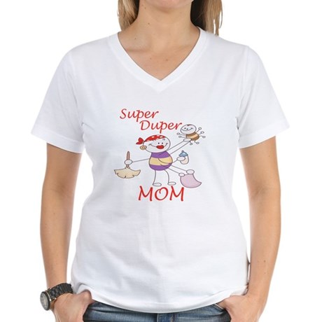 Super Duper Mom Women's V-Neck T-Shirt