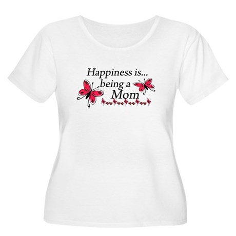 Happiness is Being a Mom Women's Plus Size Scoop N