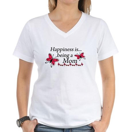 Happiness is Being a Mom Women's V-Neck T-Shirt