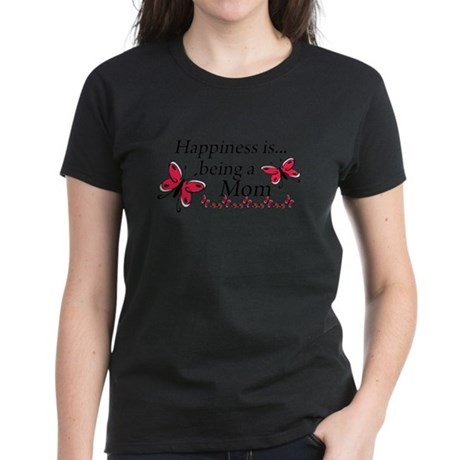 Happiness is Being a Mom Women's Dark T-Shirt