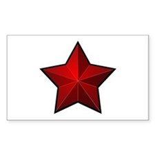 Red Star Rectangle Sticker 10 pk)