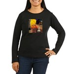 Cafe / Scottie (w) Women's Long Sleeve Dark T-Shir
