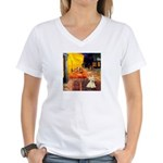 Cafe / Scottie (w) Women's V-Neck T-Shirt