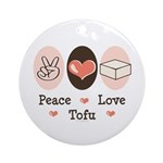 Peace Love Tofu Ornament (Round)