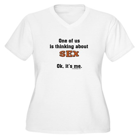 Thinking about sex... Women's Plus Size V-Neck T-S