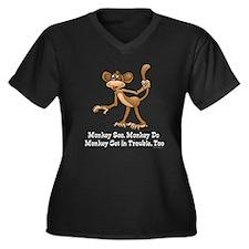 Monkey See... Women's Plus Size V-Neck Dark T-Shir