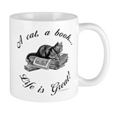 A Cat, A Book Small Mug