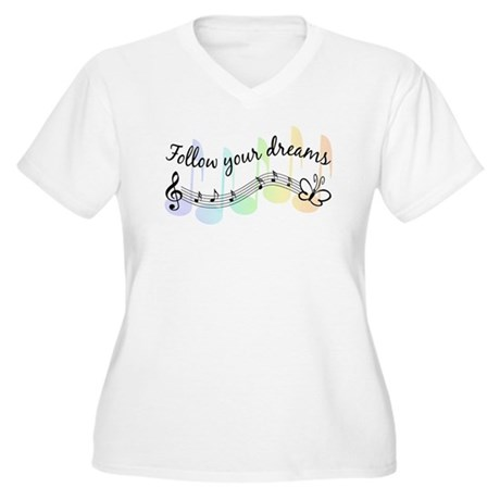 Follow Your Dreams Women's Plus Size V-Neck T-Shir